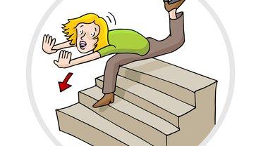 Comic Illustration Treppe Sturz Frau